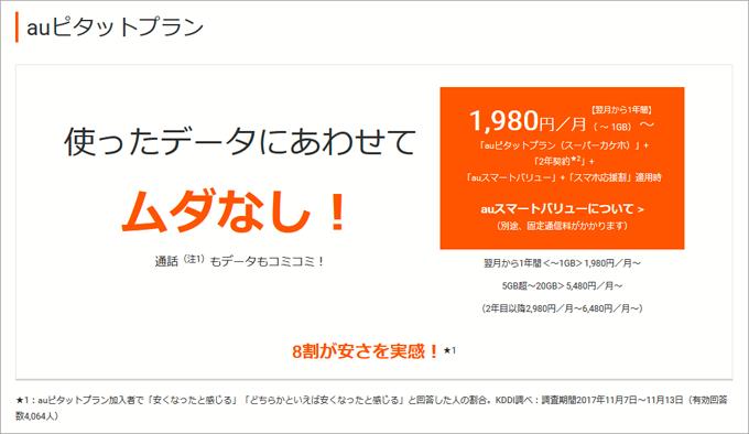 auピタットプラン「1,980円/月~」