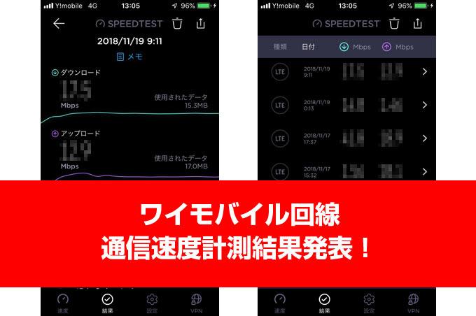 ワイモバイル回線通信速度計測結果発表