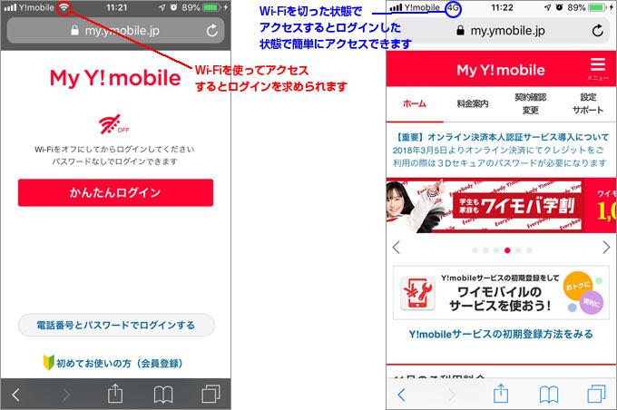 My Y!mobileにアクセス・ログインする