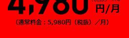 通常料金5,980円(税抜)/月