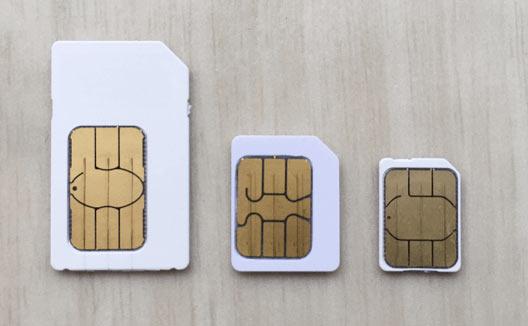 標準SIM、マイクロSIM、ナノSIM