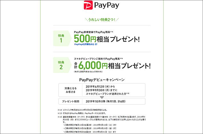PayPayデビューキャンペーンの特典内容