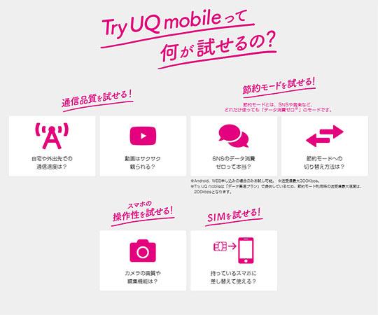 Try UQ mobileって何が試せるの?