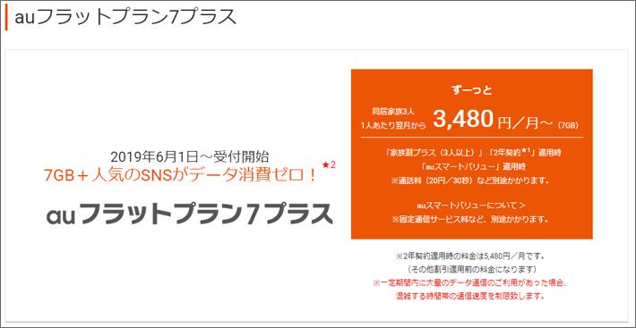 auフラットプラン7プラス 3,480円/月~
