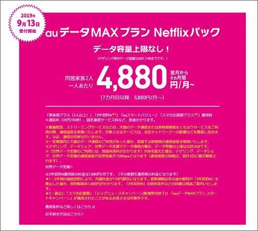 auデータMAXプラン Netflixパック 4,880円/月~