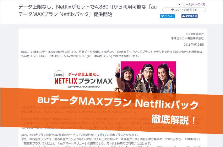 auデータMAXプラン Netflixパック徹底解説