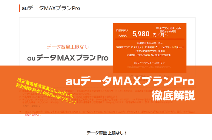 auデータMAXプランPro徹底解説