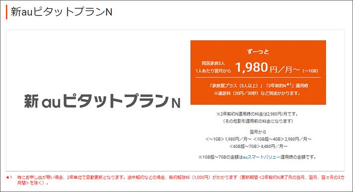 新auピタットプランN 1,980円/月~