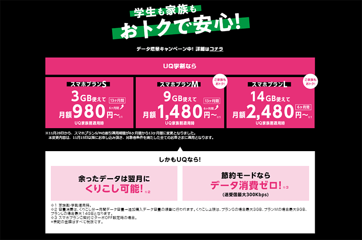 スマホプランS 3GB使えて月額980円~