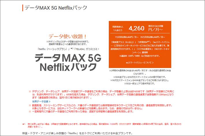 データMAX 5G Netflixパック 4,260円/月~