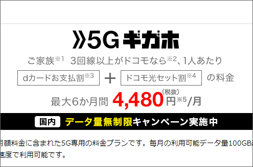 5Gギガホ 4,480円/月