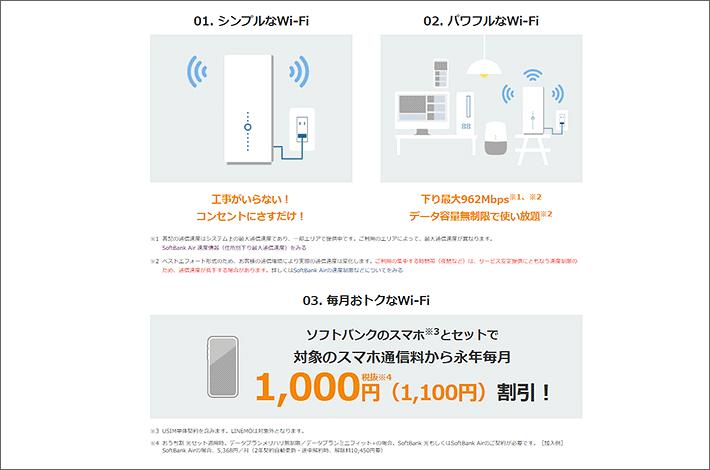 SoftBank Air 3つの特長