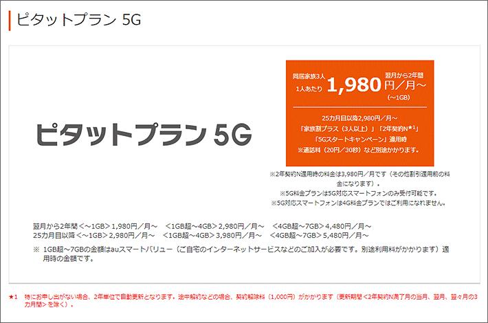ピタットプラン 5G 1,980円/月~