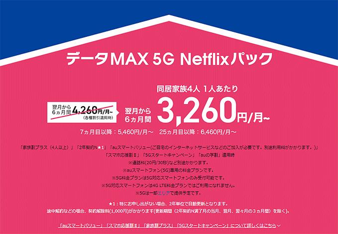「データMAX 5G Netflixパック」3,260円/月~