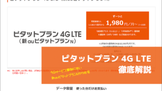 ピタットプラン 4G LTE(新auピタットプランN)徹底解説