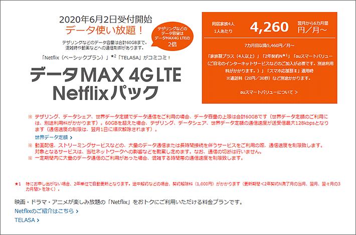 データMAX 4G LTE Netflixパック 4,260円/月~