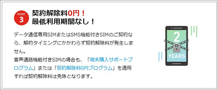 契約解除料0円!最低利用期間なし!