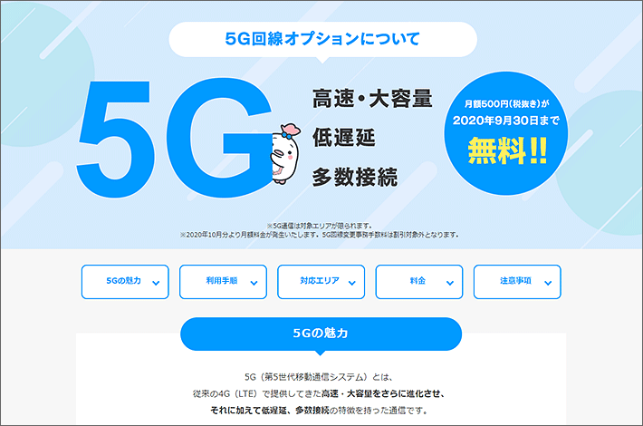 5G回線オプションについて