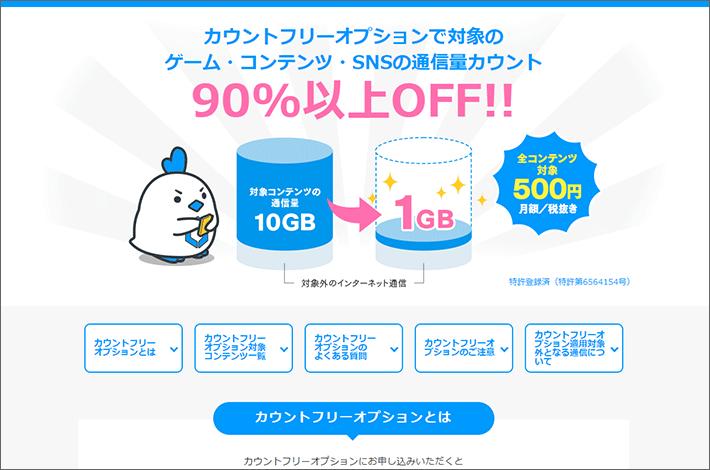 カウントフリーオプションで対象のゲーム・コンテンツ・SNSの通信量カウント 90%以上OFF
