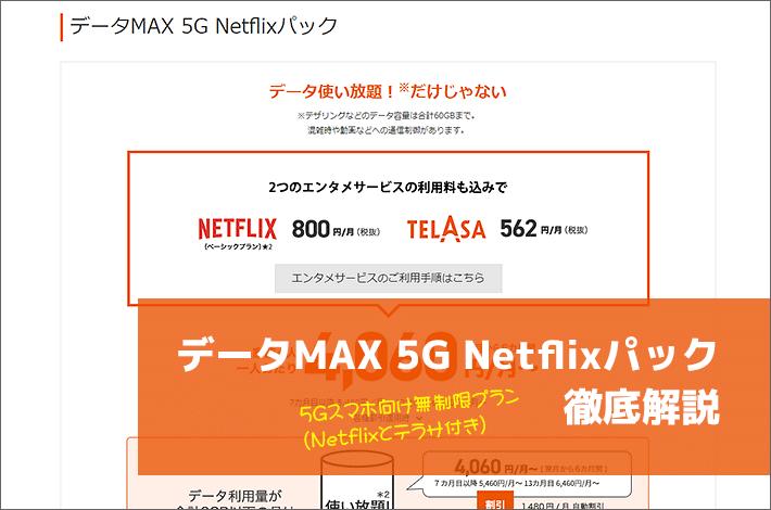 データMAX 5G Netflixパック徹底解説