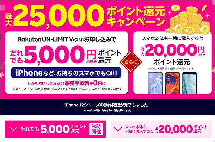 25,000ポイント還元キャンペーン