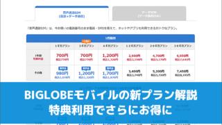 BIGLOBEモバイルの新プラン解説。特典利用でさらにお得に